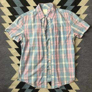 Gap - short sleeve pink and blue plaid button up